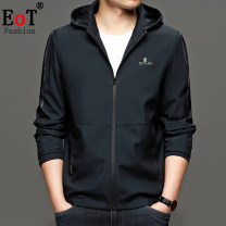 Jacket EOT Fashion City Crab green black 170 175 180 185 190 routine standard Other leisure spring eot672 Polyester 100% Long sleeves Wear out Hood Business Casual youth routine Zipper placket No iron treatment Closing sleeve Solid color polyester fiber Spring 2021 Side seam pocket