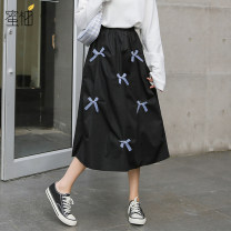 skirt Spring 2021 S M L black Mid length dress commute Natural waist A-line skirt Solid color Type A 18-24 years old More than 95% other Honey pomelo cotton Korean version Cotton 100% Exclusive payment of tmall