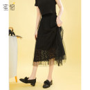 skirt Spring 2021 S M L Black apricot Mid length dress commute High waist Pleated skirt Solid color 18-24 years old Y12143-HB More than 95% Chiffon Honey pomelo polyester fiber Gauze lace Korean version Polyester 100% Exclusive payment of tmall