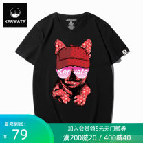 T-shirt KWS650037 Cotton 95% polyurethane elastic fiber (spandex) 5% Summer 2018 Pure e-commerce (online sales only) Large size routine tide Short sleeve routine daily Youth fashion easy KERWATS Crew neck Four seasons Geometric pattern cotton Geometric pattern Fashion brand printing tto
