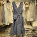 Dress Spring 2021 Black, blue, khaki M, L longuette Two piece set Long sleeves commute Crew neck Loose waist Solid color Socket A-line skirt shirt sleeve 25-29 years old Type A Korean version Button More than 95% cotton
