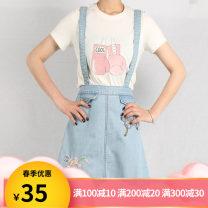 Dress Summer of 2019 Jinmuyan denim S Short skirt Sleeveless Sweet High waist A-line skirt camisole Type A Embroidery 81% (inclusive) - 90% (inclusive) Denim cotton college