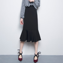 skirt Spring of 2019 S. M, l, XL, XXL, custom size black Mid length dress commute High waist skirt Solid color Type A 25-29 years old Q666 71% (inclusive) - 80% (inclusive) brocade Trifolium cotton Lotus leaf, three-dimensional decoration, swallow tail, thread decoration, splicing Korean version