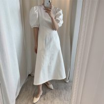 Dress Spring 2021 White, black Average size Mid length dress singleton  Short sleeve commute Crew neck Solid color Socket puff sleeve Others 18-24 years old Korean version 71% (inclusive) - 80% (inclusive)