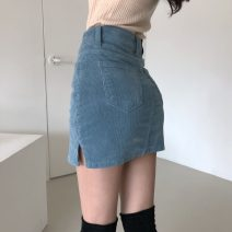 skirt Spring 2021 S,M,L Blue, black Short skirt Versatile High waist A-line skirt Type A 18-24 years old 71% (inclusive) - 80% (inclusive) corduroy Other / other pocket