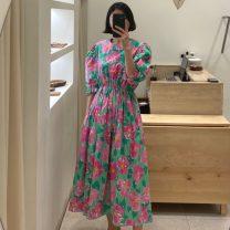 Dress Summer 2021 Pink flower, purple flower, yellow flower Average size Mid length dress singleton  Short sleeve commute Crew neck Decor Socket puff sleeve Others 18-24 years old Korean version 71% (inclusive) - 80% (inclusive)