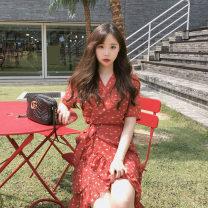 Dress Spring 2021 gules S,M,L,XL Middle-skirt singleton  Short sleeve commute V-neck High waist Decor other other Others 18-24 years old Other / other Korean version 31% (inclusive) - 50% (inclusive) Chiffon other