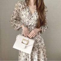 Dress Spring 2021 Decor Average size Mid length dress singleton  Long sleeves commute V-neck Decor Socket Others 18-24 years old Korean version 71% (inclusive) - 80% (inclusive)