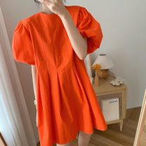 Dress Summer 2021 Black, orange Average size Middle-skirt singleton  Short sleeve commute Crew neck Solid color Socket bishop sleeve Others 18-24 years old Korean version 71% (inclusive) - 80% (inclusive)
