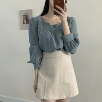 Fashion suit Autumn 2020 S,M,L,XL Blue shirt, apricot shirt, coffee skirt, apricot skirt 18-25 years old Other / other 71% (inclusive) - 80% (inclusive)