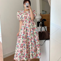 Dress Summer 2021 White, black Average size Mid length dress singleton  Short sleeve commute V-neck Broken flowers zipper Ruffle Skirt routine Others 18-24 years old Korean version 51% (inclusive) - 70% (inclusive) other