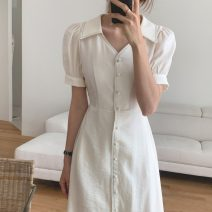 Dress Summer 2020 Dark blue, white S,M,L Mid length dress singleton  Short sleeve commute Admiral Solid color Single breasted Others 18-24 years old Korean version 71% (inclusive) - 80% (inclusive)