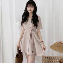 Dress Spring 2021 S,M,L,XL Short skirt singleton  Short sleeve commute V-neck Solid color Socket 18-24 years old Other / other Korean version 71% (inclusive) - 80% (inclusive)