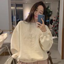 Sweater / sweater Winter 2020 white Average size Long sleeves routine Socket singleton  Plush Crew neck commute letter 18-24 years old 71% (inclusive) - 80% (inclusive) Korean version