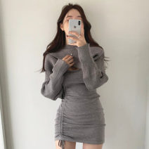 Dress Spring 2021 Gray, black Average size Short skirt Two piece set Long sleeves commute Crew neck High waist Solid color Socket One pace skirt routine Others 18-24 years old Type H Korean version 71% (inclusive) - 80% (inclusive) knitting cotton