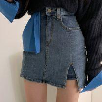skirt Spring 2021 XS,S,M,L,XL blue Short skirt Versatile High waist skirt 18-24 years old 71% (inclusive) - 80% (inclusive) Denim zipper