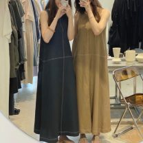 Dress Summer 2021 Khaki, dark blue Average size longuette singleton  Sleeveless commute Crew neck Solid color Socket Others 18-24 years old Korean version 31% (inclusive) - 50% (inclusive) hemp