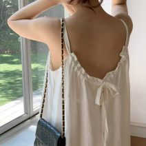 Dress Summer 2020 White, brick red Average size longuette singleton  Sleeveless commute Solid color Socket camisole 18-24 years old Korean version 71% (inclusive) - 80% (inclusive)
