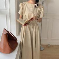 Dress Summer 2021 Khaki, black Average size longuette singleton  Short sleeve commute square neck Solid color Socket Others 18-24 years old Korean version 71% (inclusive) - 80% (inclusive)