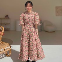 Dress Summer 2021 Decor Average size Mid length dress singleton  elbow sleeve commute Lotus leaf collar Broken flowers Socket puff sleeve Others 18-24 years old Korean version 71% (inclusive) - 80% (inclusive)