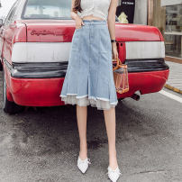skirt Summer 2021 S,M,L,XL,2XL,3XL,4XL,5XL wathet Mid length dress Sweet High waist Splicing style Solid color Type A 25-29 years old More than 95% Denim Other / other cotton Pocket, button, mesh, zipper, stitching Ruili