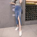 skirt Spring 2021 S,M,L,XL,2XL Light blue, dark blue longuette sexy High waist skirt Solid color Type H 25-29 years old 81% (inclusive) - 90% (inclusive) Denim cotton Pocket, asymmetric, button