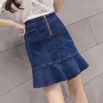 skirt Summer 2021 S,M,L,XL,2XL,3XL,4XL,5XL navy blue Short skirt Sweet High waist Ruffle Skirt Solid color Type X 25-29 years old More than 95% Denim cotton Ruffles, zippers college