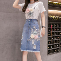 skirt Spring 2021 S,M,L,XL,2XL,3XL Blue, white, one set Middle-skirt commute High waist skirt Big flower Type H 25-29 years old More than 95% Denim Other / other cotton Tassels, holes, hand worn, embroidery, pockets, three-dimensional decoration, beads, buttons, zippers ethnic style