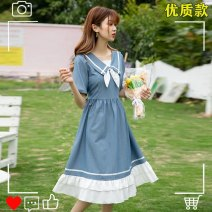 Dress Summer 2021 Blue, pink S,M,L,XL Mid length dress singleton  Short sleeve commute Admiral Loose waist Solid color Socket Big swing routine Others 18-24 years old Type A Retro Bow, tuck, lace, lace, ruffle 91% (inclusive) - 95% (inclusive) other polyester fiber