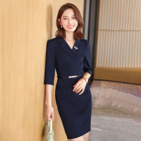 Dress Summer 2021 Black, blue S,M,L,XL,2XL,3XL,4XL longuette singleton  Long sleeves commute V-neck middle-waisted Solid color zipper One pace skirt routine 25-29 years old Type H Korean version zipper More than 95% polyester fiber