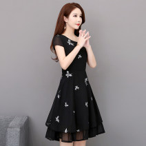 Dress Summer 2021 black M,L,XL,2XL,3XL,4XL,5XL Mid length dress singleton  Short sleeve commute Crew neck middle-waisted Solid color Socket A-line skirt routine Others Type A Other / other Korean version Embroidered yarn, zipper 81% (inclusive) - 90% (inclusive) Chiffon