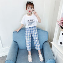 suit Other / other white 110cm,120cm,130cm,140cm,150cm,160cm female summer motion Short sleeve + pants 2 pieces Thin money There are models in the real shooting Socket nothing Cartoon animation cotton friend Giving presents at school Convex spline Class B Other 100%