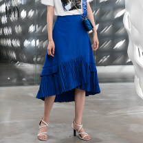 skirt Summer of 2019 34 36 38 Royal Blue Mid length dress commute Natural waist Pleated skirt Solid color Type A 30-34 years old HM924700305 81% (inclusive) - 90% (inclusive) Hply / Holly polyester fiber Fold asymmetric splicing Ol style Polyester 81.3% cotton 18.7%