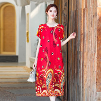 Middle aged and old women's wear Summer 2021 1, 2, 5, 6, 7, 8, 10, 11, 12, 13, 14, 15, 16, 17 XL recommends 100-130 kg, 2XL 130-150 kg, 3XL 150-180 kg commute Dress easy singleton  Decor 40-49 years old Socket thin Crew neck routine Mingxin belt cotton 81% (inclusive) - 90% (inclusive) longuette