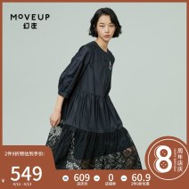 Dress Spring 2021 160/80A/S 165/84A/M 170/88A/L Middle-skirt three quarter sleeve commute stand collar middle-waisted Single breasted other 25-29 years old Type A Moveup Simplicity Embroidered pocket More than 95% cotton Cotton 100% Pure e-commerce (online only)