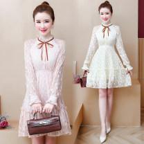 Dress Autumn 2020 Apricot, black, pink S,M,L,XL,2XL Middle-skirt singleton  Long sleeves commute stand collar High waist Decor Socket A-line skirt other Others Type A Korean version