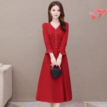 Dress Winter 2020 Red, black M,L,XL,2XL,3XL,4XL Mid length dress singleton  Long sleeves V-neck Button