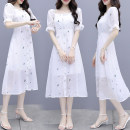Dress Summer 2021 white S,M,L,XL Mid length dress Short sleeve commute Crew neck routine Others