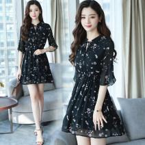 Dress Summer 2021 Pink, black S,M,L,XL,2XL,3XL Middle-skirt singleton  Long sleeves commute Crew neck High waist Decor Socket A-line skirt pagoda sleeve Type A Korean version Chiffon