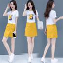 Dress Summer 2021 Blue, yellow S,M,L,XL,2XL Short skirt Two piece set Short sleeve