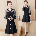 Dress Autumn 2020 Black, maroon M,L,XL,3XL,XXL singleton  Long sleeves commute V-neck middle-waisted zipper A-line skirt routine Others Type A Korean version