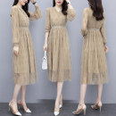 Dress Autumn 2020 Picture color S,M,L,XL Mid length dress singleton  Long sleeves commute V-neck routine Others Type A Korean version Lace