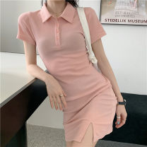 Dress Summer 2021 Gray, white, pink Average size Middle-skirt singleton  Short sleeve commute Polo collar Solid color Three buttons routine Others 18-24 years old Other / other 91% (inclusive) - 95% (inclusive) other