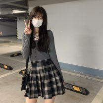 Fashion suit Summer 2021 S. M, average size Black top, dark grey top, plaid pleated skirt Other / other 31% (inclusive) - 50% (inclusive)