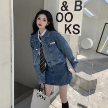 skirt Spring 2021 S. M, l, average size Denim jacket, denim skirt, white shirt + tie Short skirt street High waist A-line skirt Solid color Type A 18-24 years old other Other / other cotton