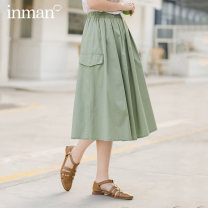 skirt Summer 2021 S M L Mid length dress commute High waist A-line skirt Solid color Type A 25-29 years old More than 95% other Inman / Inman cotton Simplicity Cotton 100% Same model in shopping mall (sold online and offline)