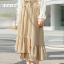 skirt Winter 2020 S M L khaki Mid length dress Retro High waist A-line skirt Type A 25-29 years old 180_ TM1180a More than 95% other Inman / Inman cotton Cotton 100%