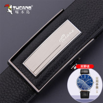 Belt / belt / chain top layer leather Style one style two style three style four style five style six style seven male belt business affairs Single loop Youth and middle age Automatic buckle Glossy surface soft surface 3.5cm alloy alone Tucano / woodpecker WDE8812 Autumn and winter 2017