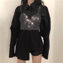 Fashion suit Spring 2021 Average size Black shirt, white shirt, Silver Diamond vest 18-25 years old