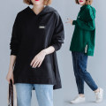 Women's large Autumn 2020 Black, dark green Large XL, large 2XL Sweater / sweater singleton  commute easy thick Socket Long sleeves literature Hood routine routine 25-29 years old